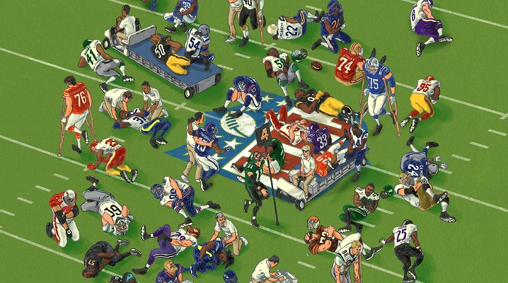cartoon showing all NFL players all injured together on the field